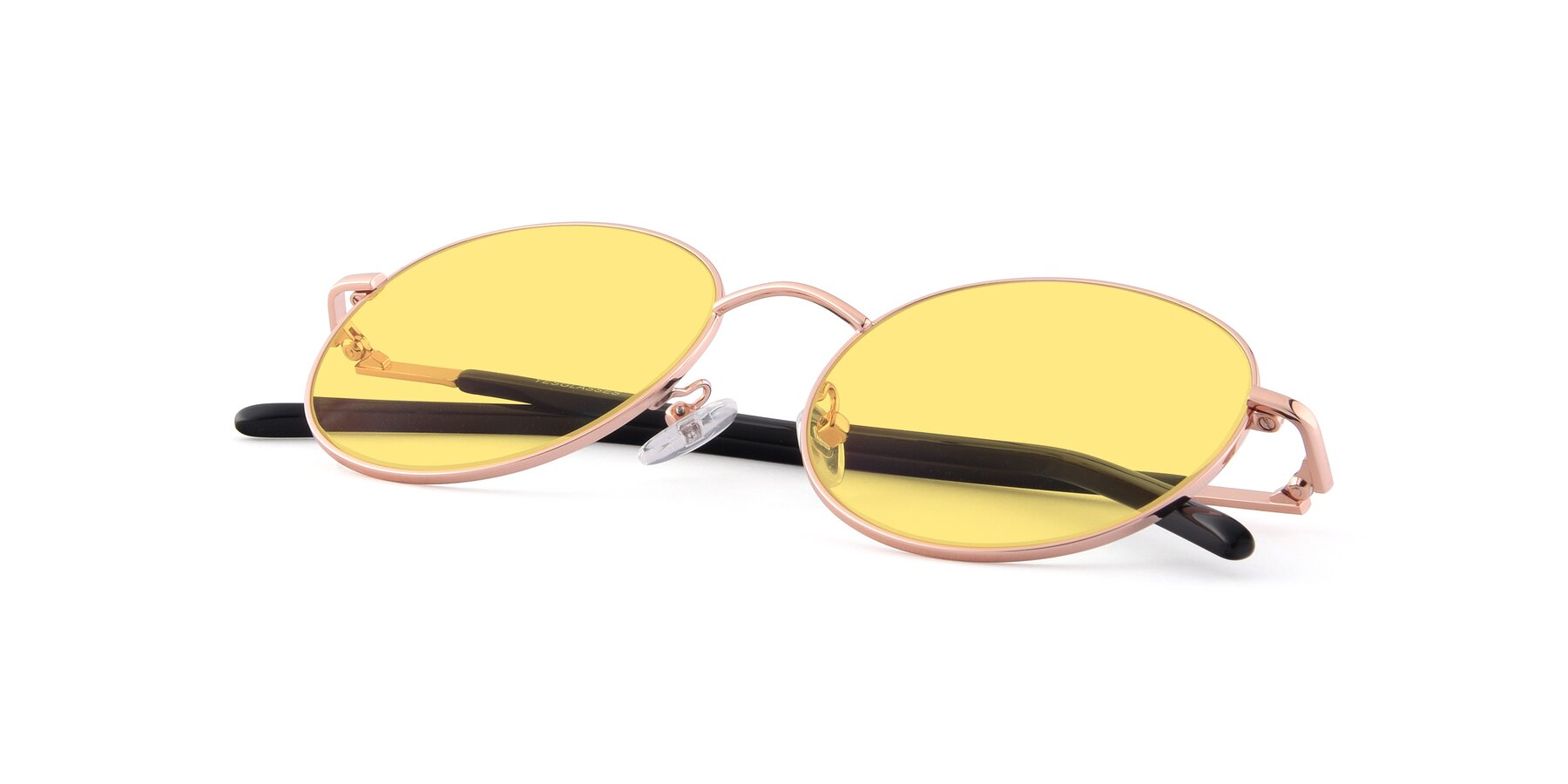 View of Cosmos in Rose Gold with Medium Yellow Tinted Lenses
