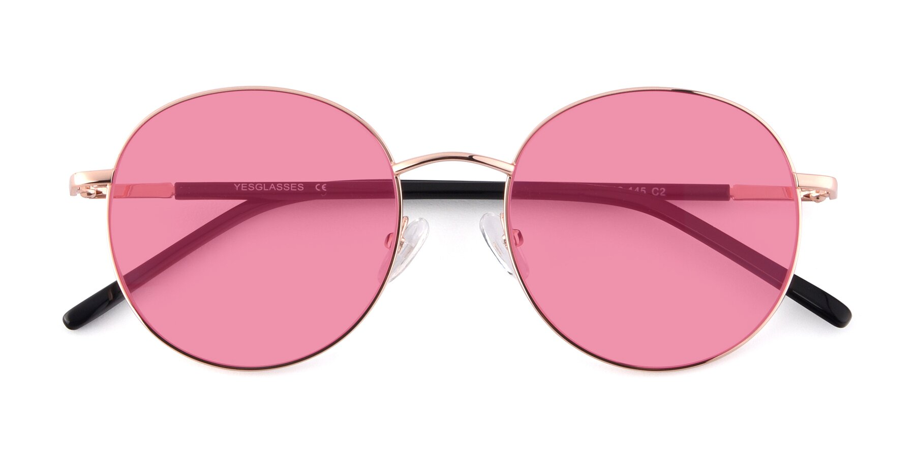 Folded Front of Cosmos in Rose Gold with Pink Tinted Lenses