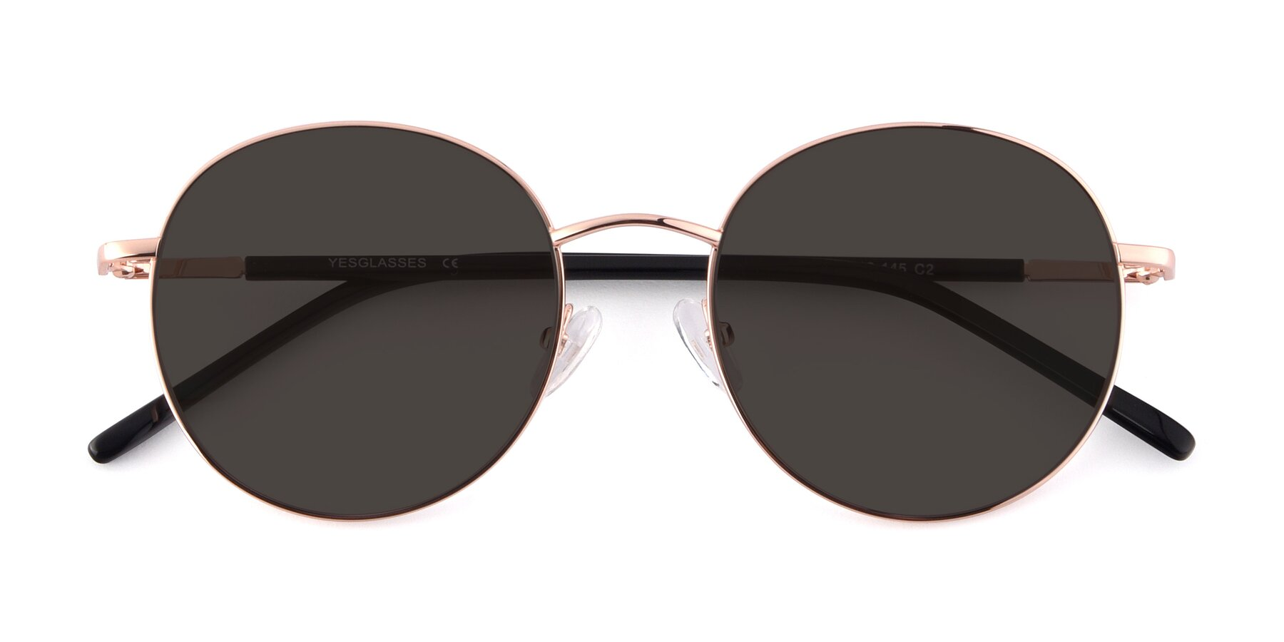 Folded Front of Cosmos in Rose Gold with Gray Tinted Lenses