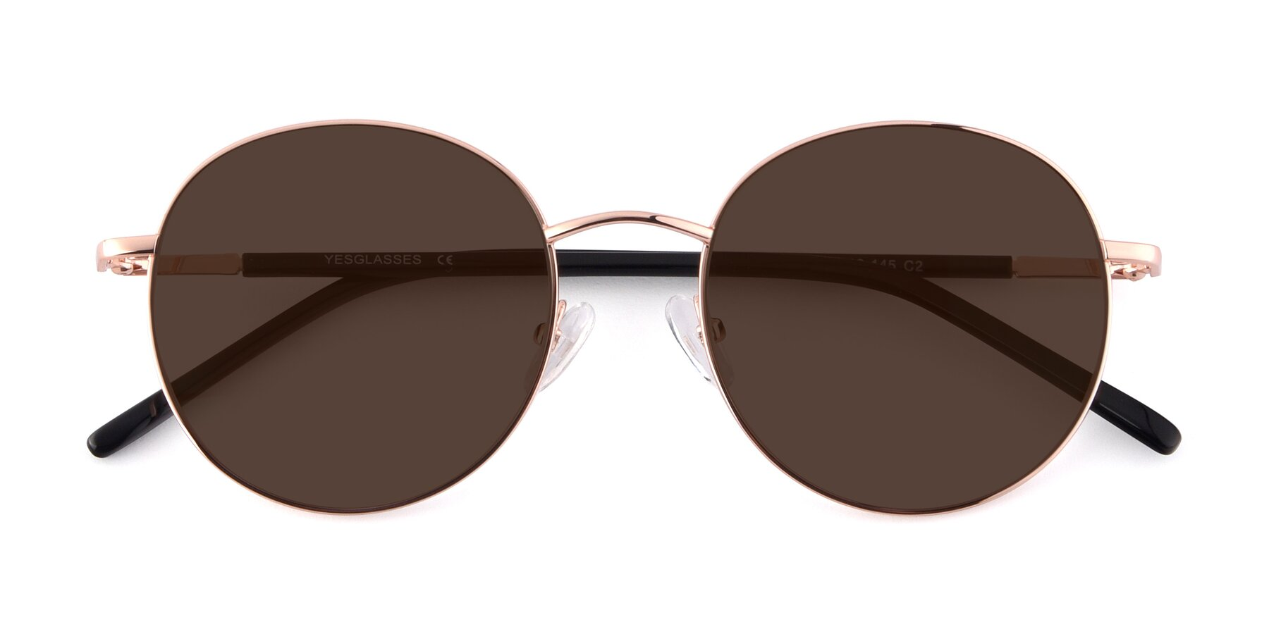 Folded Front of Cosmos in Rose Gold with Brown Tinted Lenses