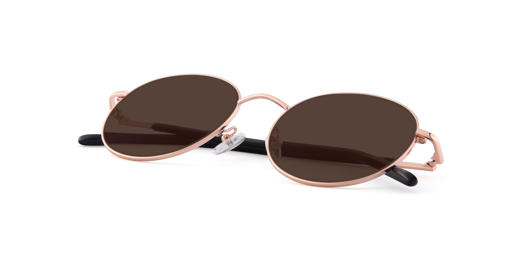 View of Cosmos in Rose Gold with Brown Tinted Lenses