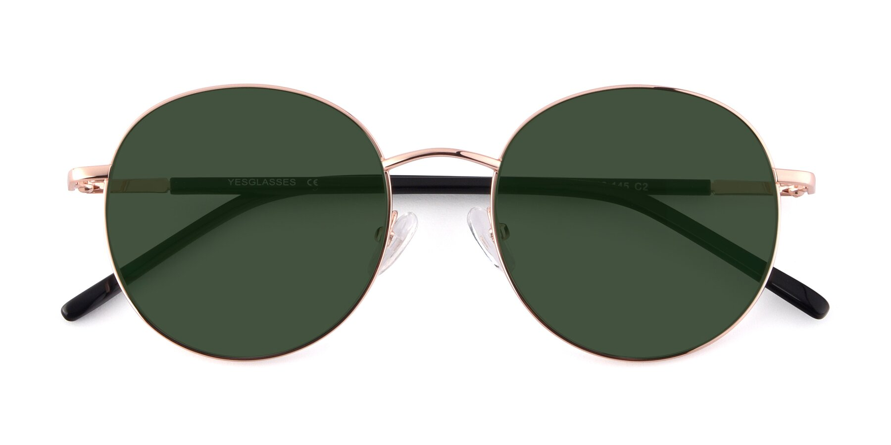 Folded Front of Cosmos in Rose Gold with Green Tinted Lenses