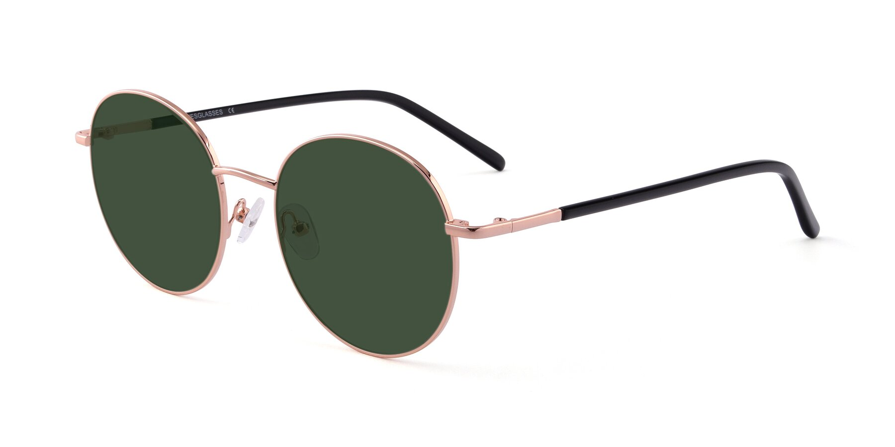 Angle of Cosmos in Rose Gold with Green Tinted Lenses