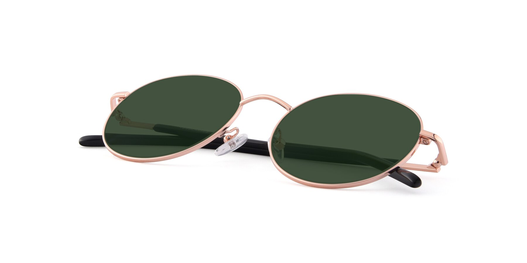 View of Cosmos in Rose Gold with Green Tinted Lenses