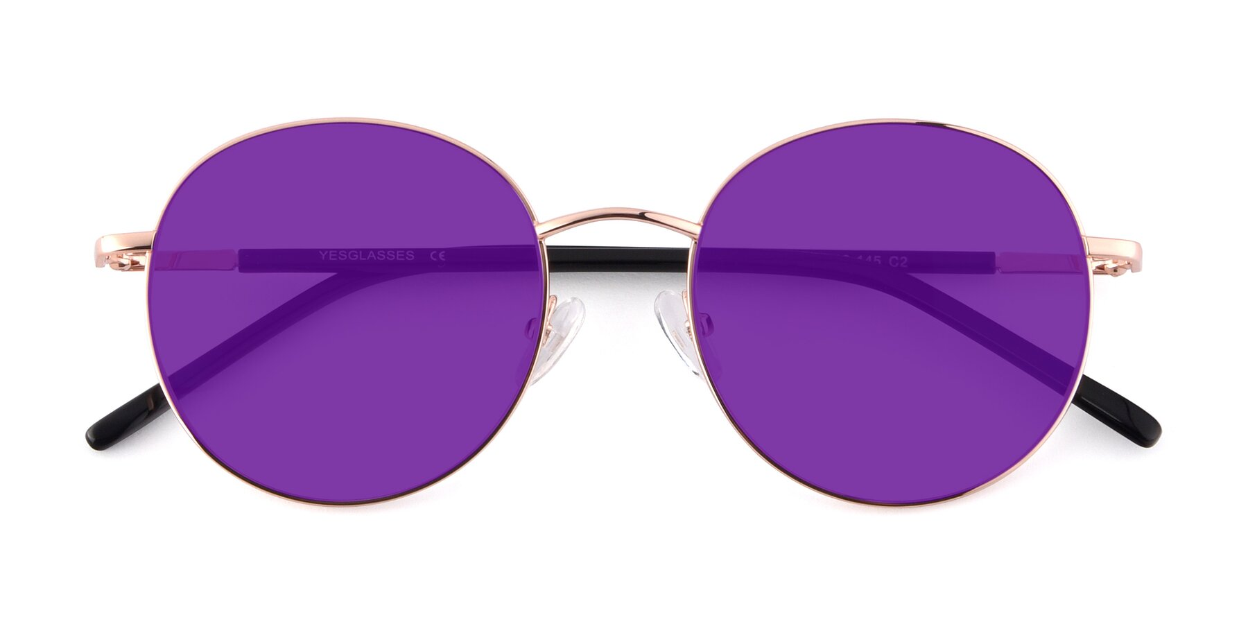 Folded Front of Cosmos in Rose Gold with Purple Tinted Lenses