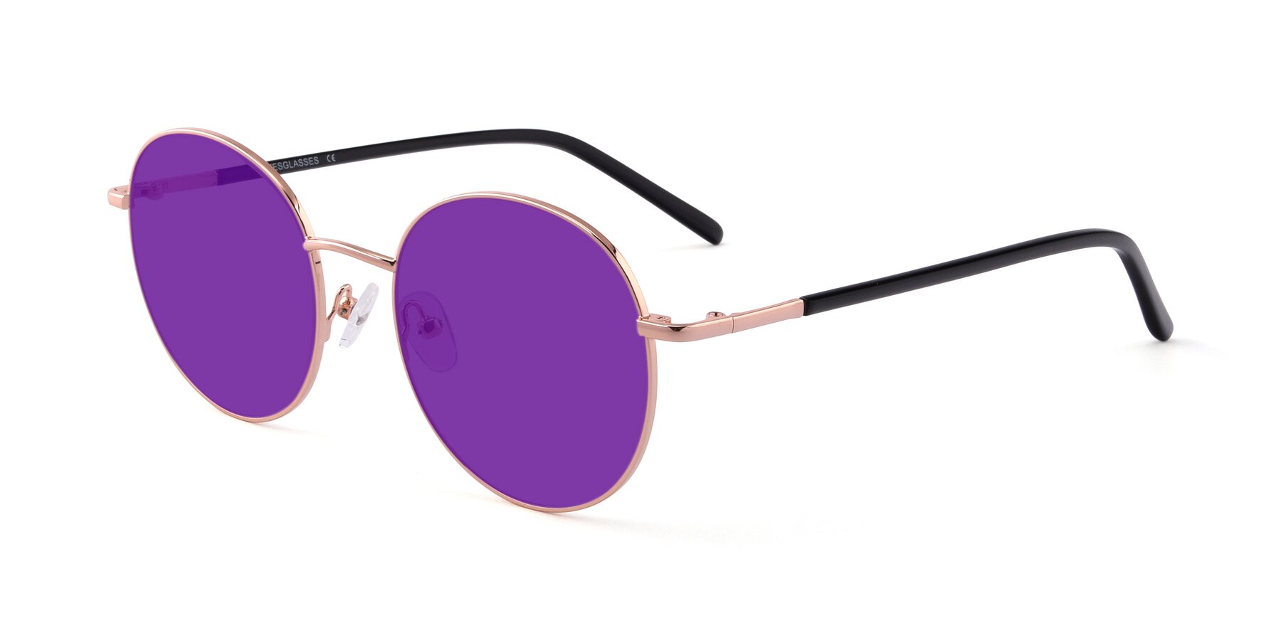 Angle of Cosmos in Rose Gold with Purple Tinted Lenses