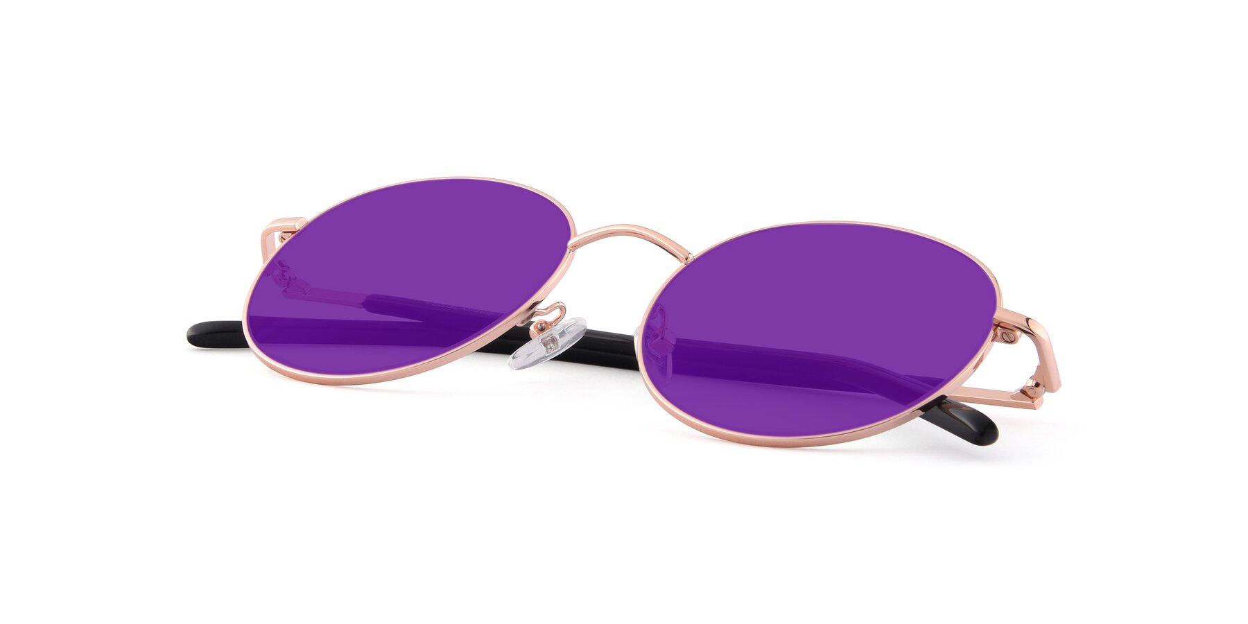 View of Cosmos in Rose Gold with Purple Tinted Lenses