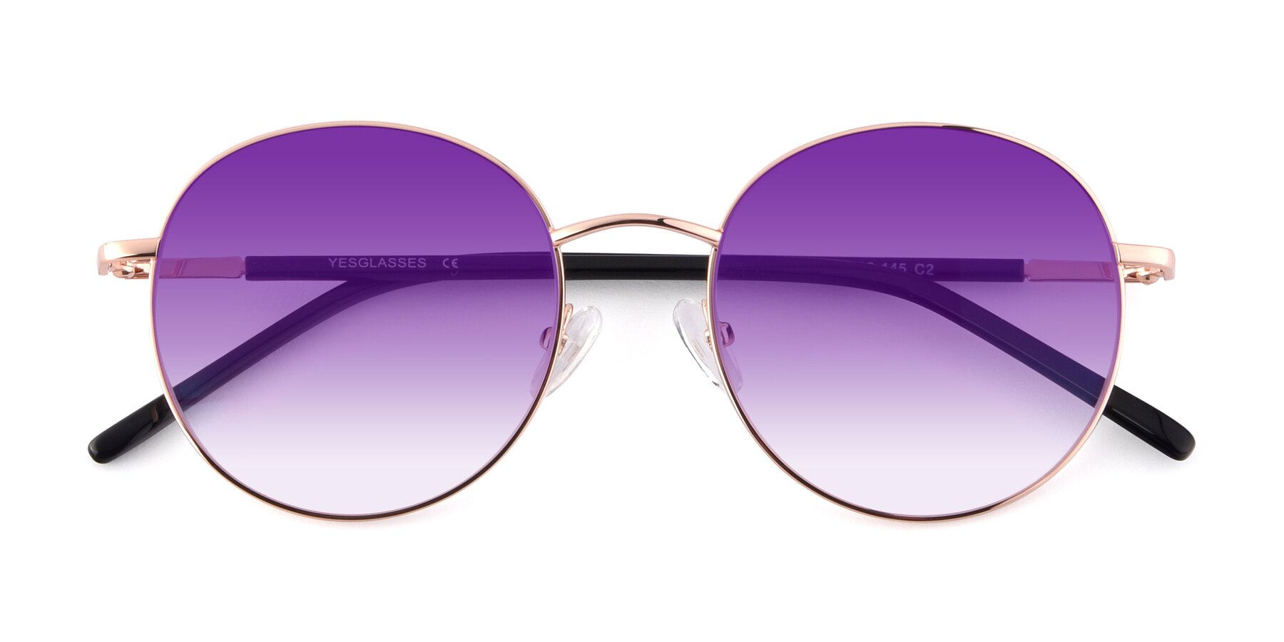 Folded Front of Cosmos in Rose Gold with Purple Gradient Lenses