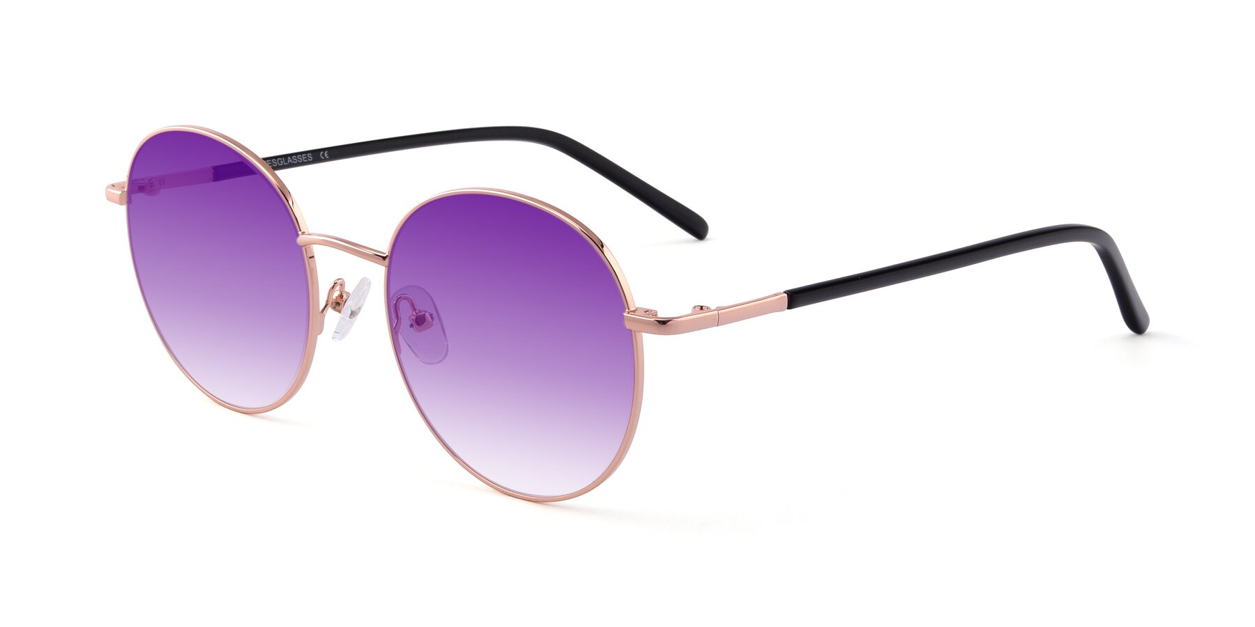 Angle of Cosmos in Rose Gold with Purple Gradient Lenses