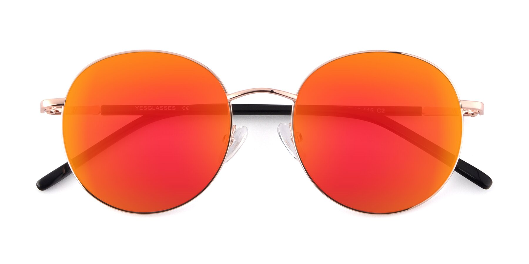 Folded Front of Cosmos in Rose Gold with Red Gold Mirrored Lenses
