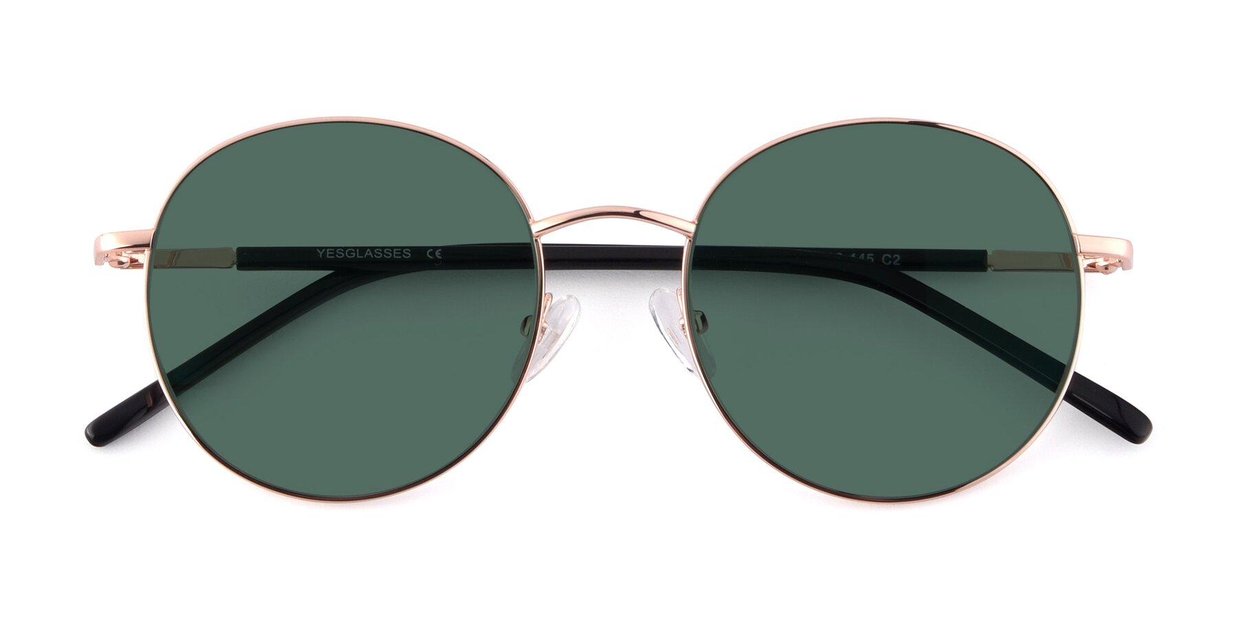 Folded Front of Cosmos in Rose Gold with Green Polarized Lenses
