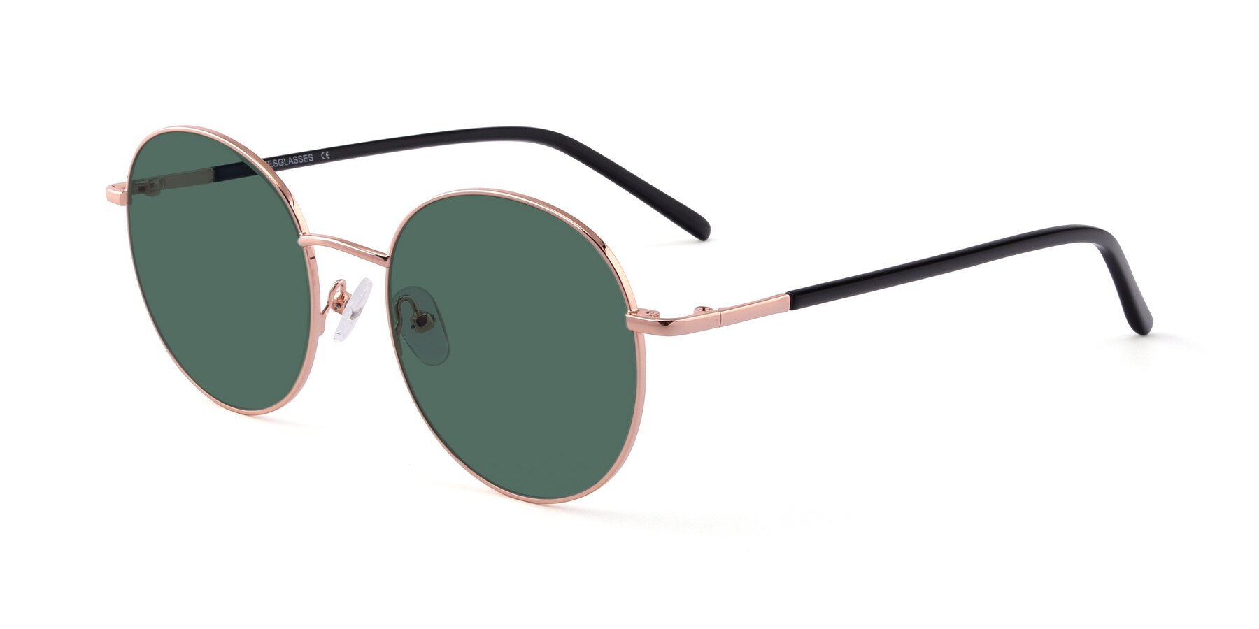 Angle of Cosmos in Rose Gold with Green Polarized Lenses