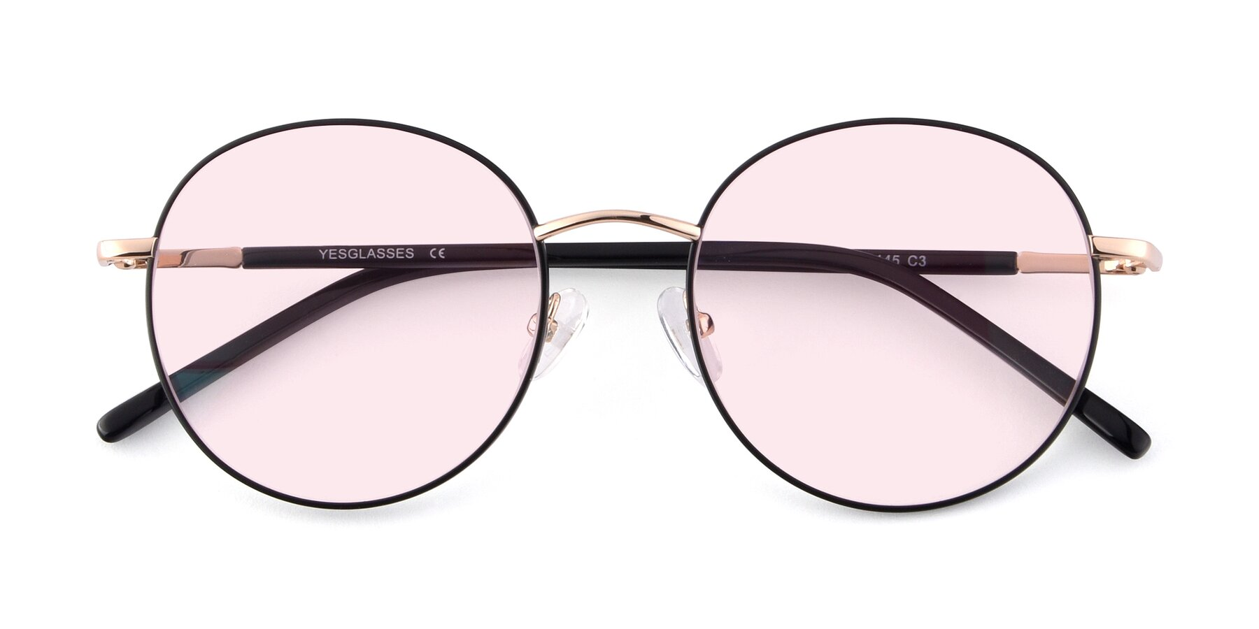 Folded Front of Cosmos in Black-Gold with Light Pink Tinted Lenses