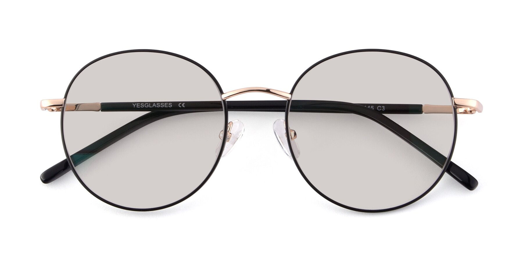 Folded Front of Cosmos in Black-Gold with Light Brown Tinted Lenses