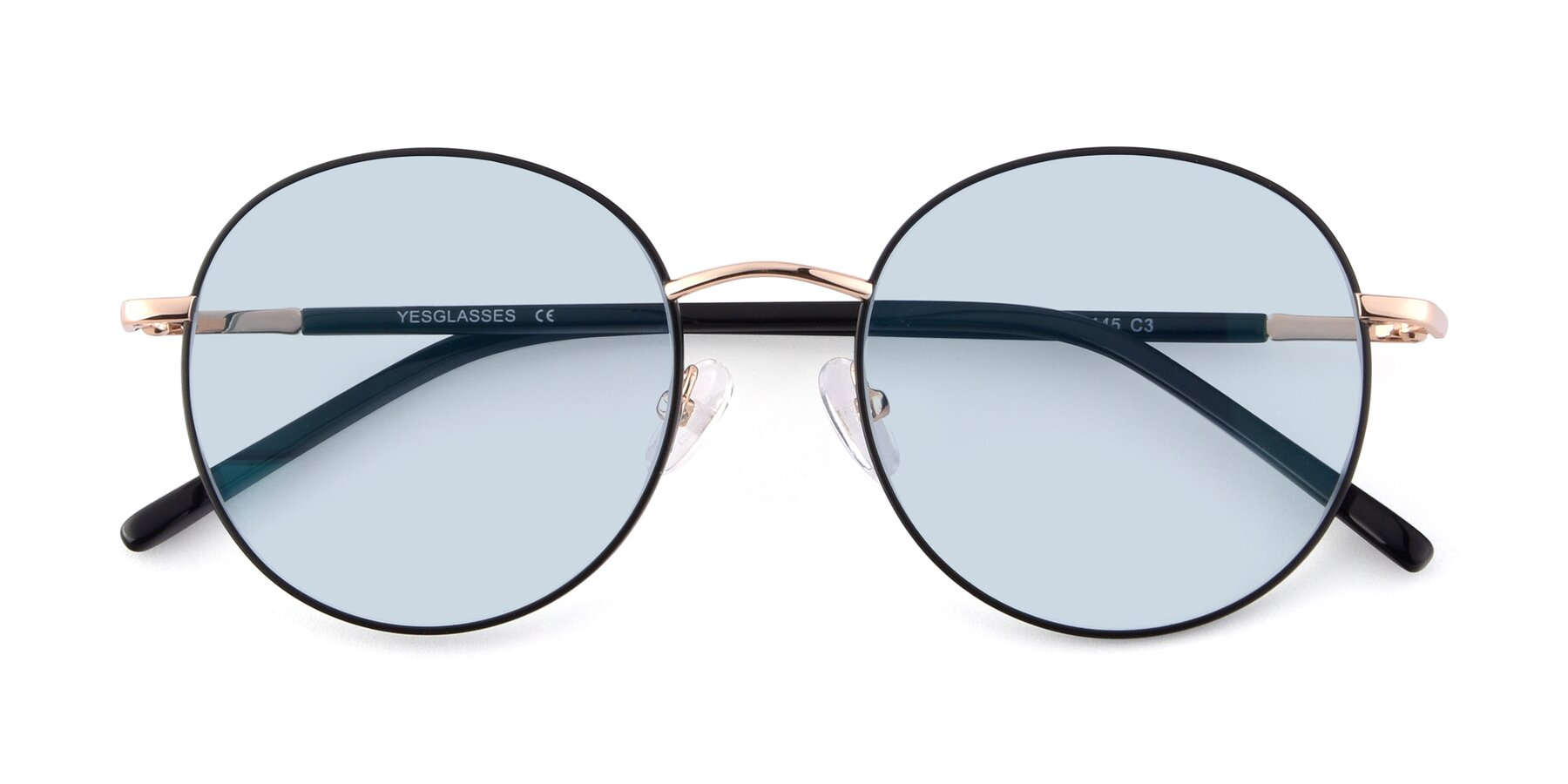 Folded Front of Cosmos in Black-Gold with Light Blue Tinted Lenses