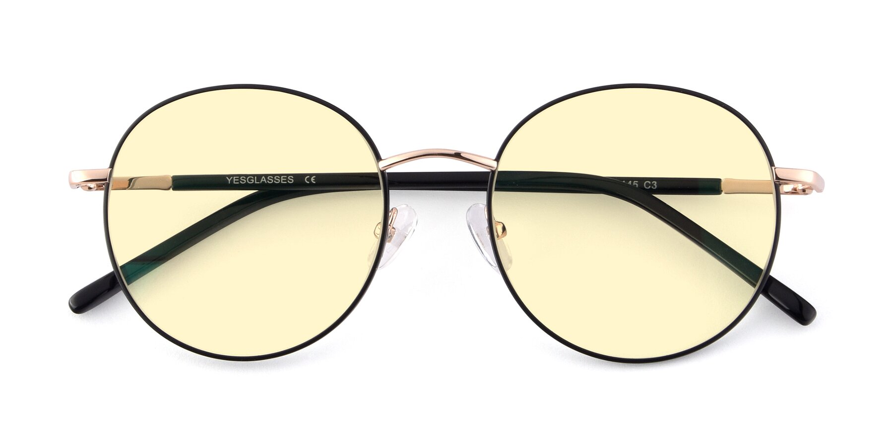 Folded Front of Cosmos in Black-Gold with Light Yellow Tinted Lenses