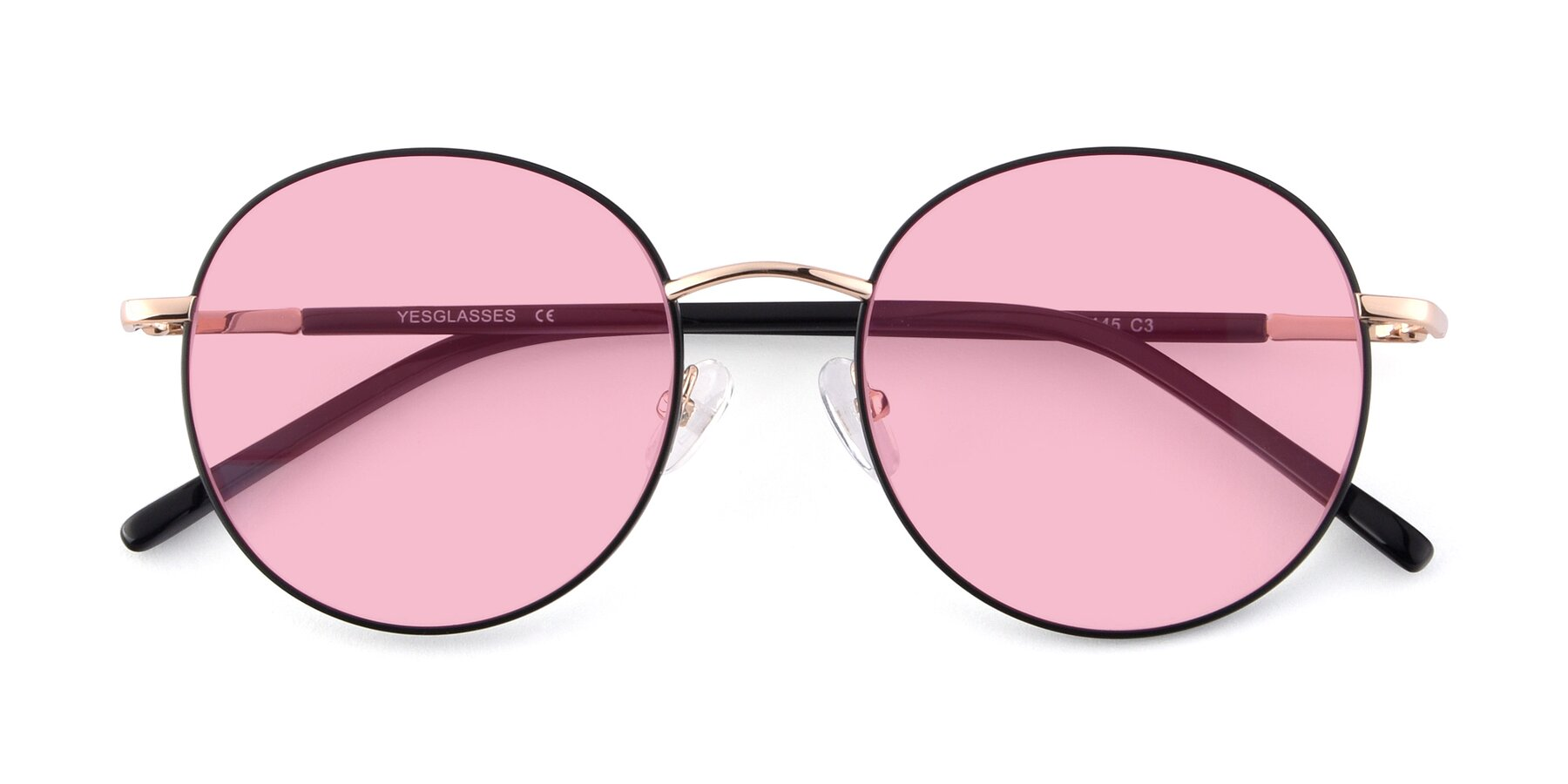 Folded Front of Cosmos in Black-Gold with Medium Pink Tinted Lenses