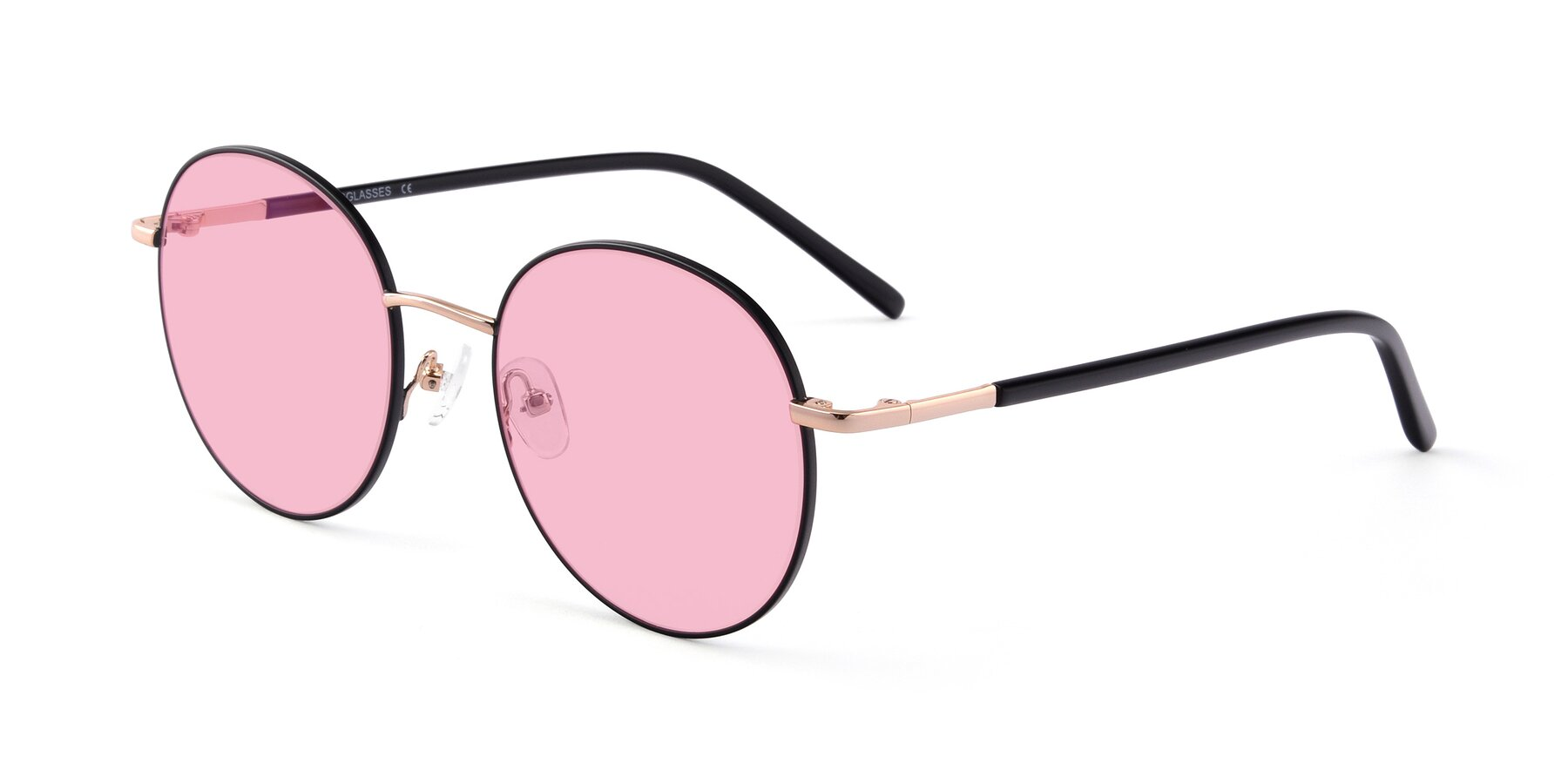 Angle of Cosmos in Black-Gold with Medium Pink Tinted Lenses
