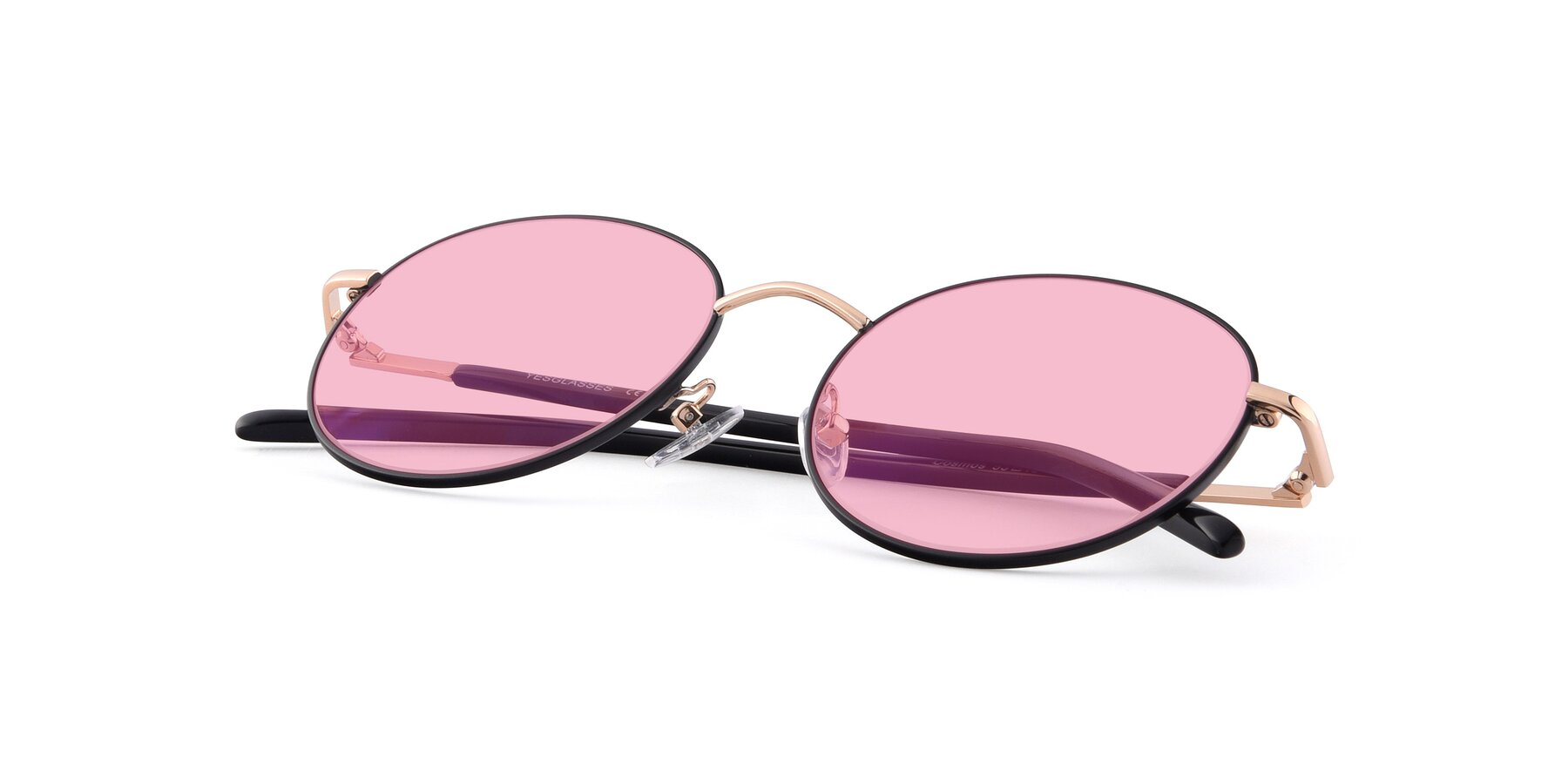 View of Cosmos in Black-Gold with Medium Pink Tinted Lenses