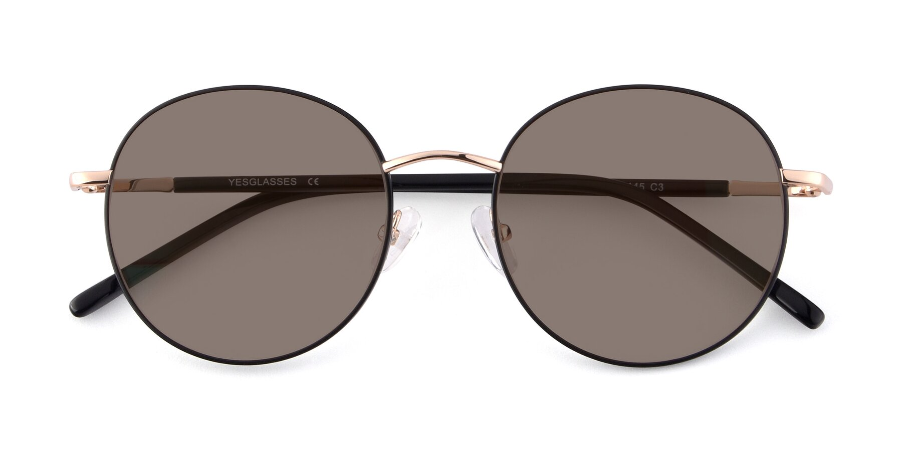 Folded Front of Cosmos in Black-Gold with Medium Brown Tinted Lenses