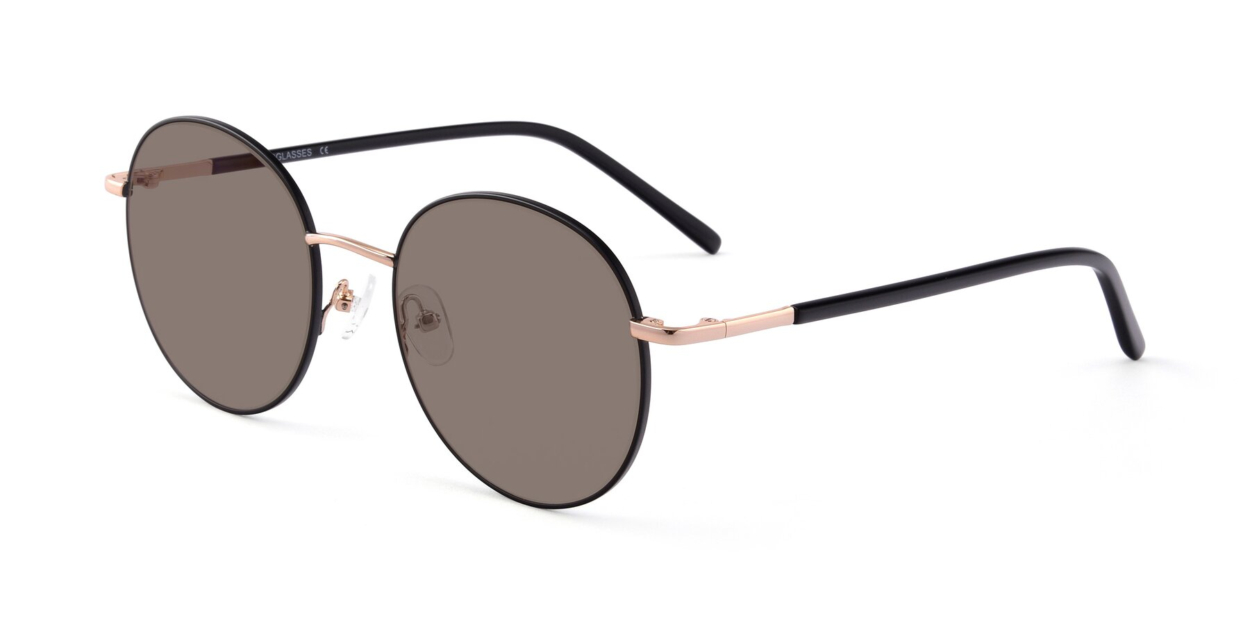 Angle of Cosmos in Black-Gold with Medium Brown Tinted Lenses