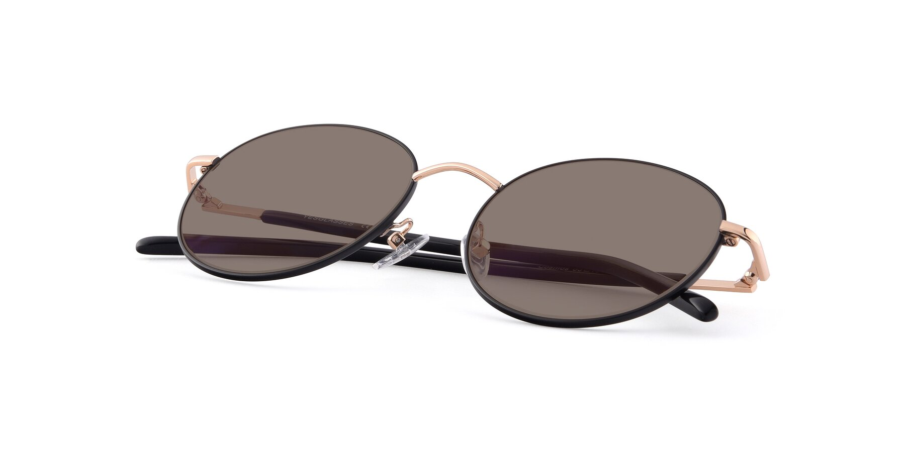 View of Cosmos in Black-Gold with Medium Brown Tinted Lenses