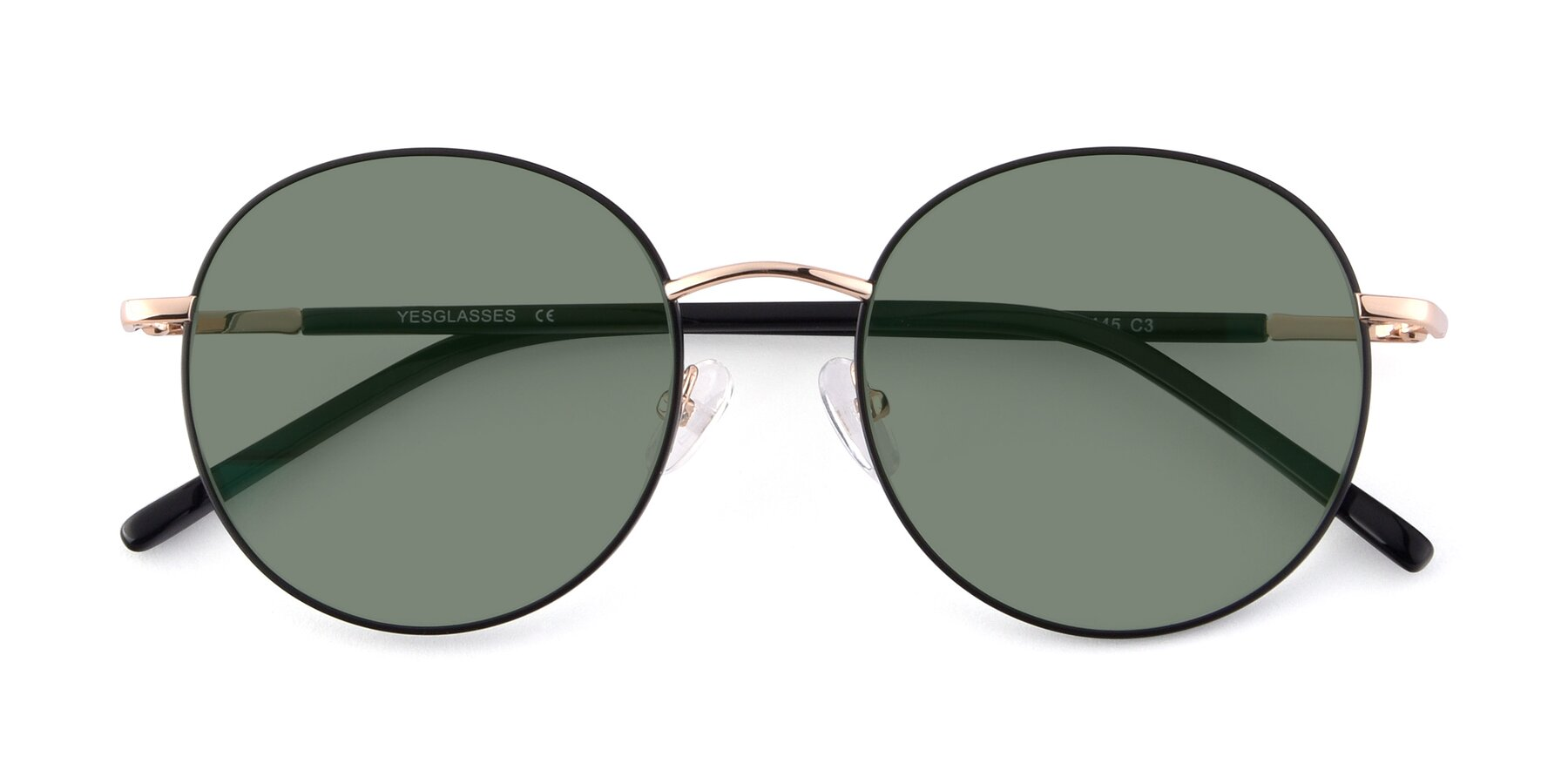 Folded Front of Cosmos in Black-Gold with Medium Green Tinted Lenses