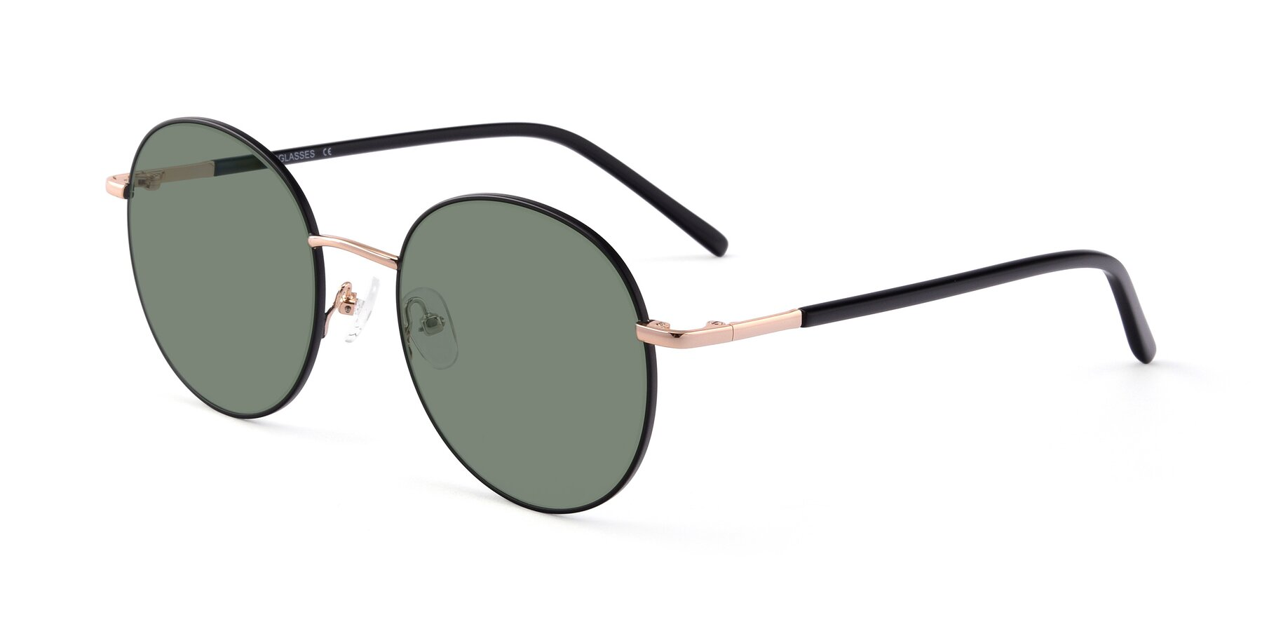 Angle of Cosmos in Black-Gold with Medium Green Tinted Lenses