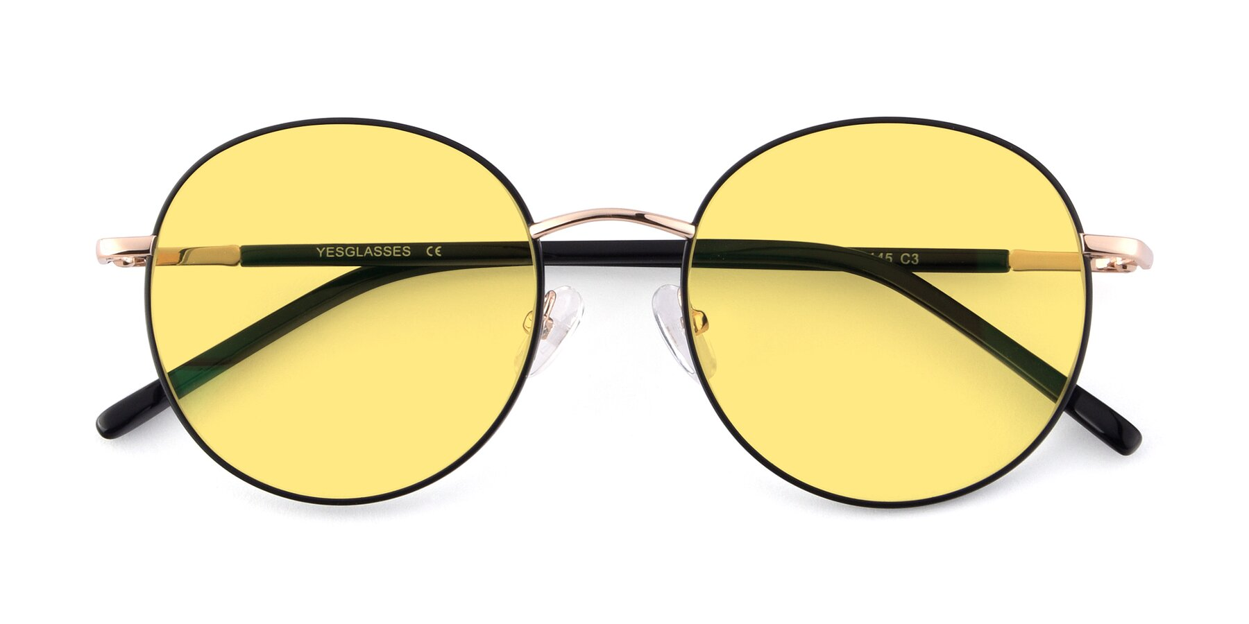 Folded Front of Cosmos in Black-Gold with Medium Yellow Tinted Lenses