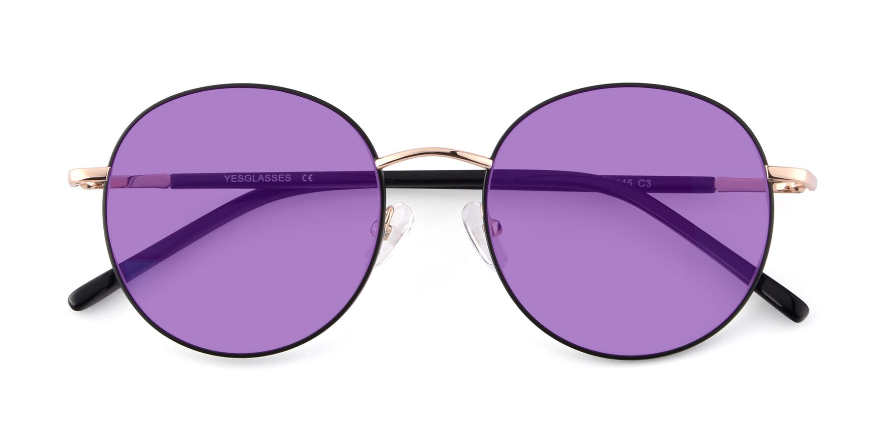 Folded Front of Cosmos in Black-Gold with Medium Purple Tinted Lenses