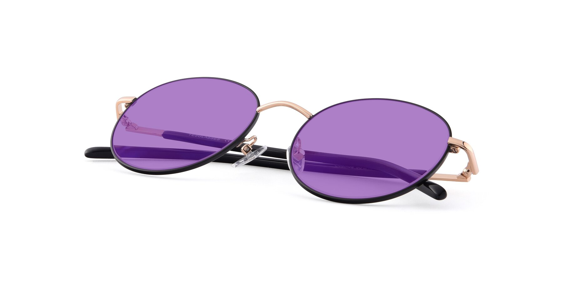 View of Cosmos in Black-Gold with Medium Purple Tinted Lenses