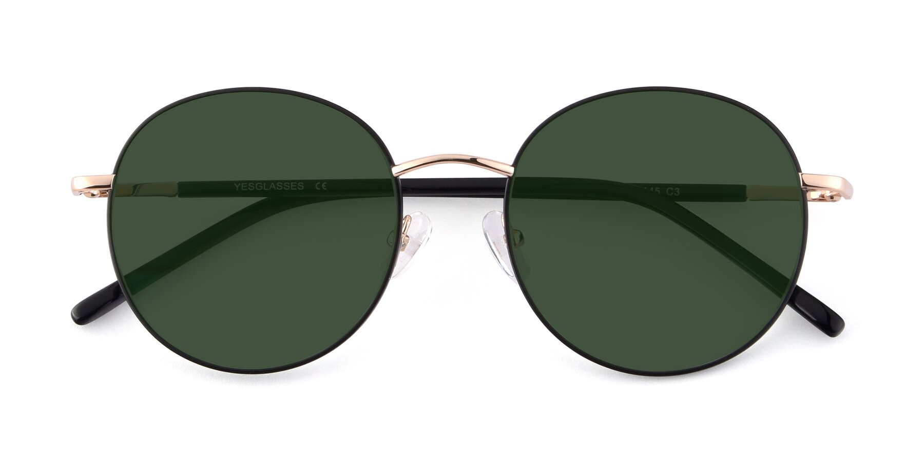Folded Front of Cosmos in Black-Gold with Green Tinted Lenses