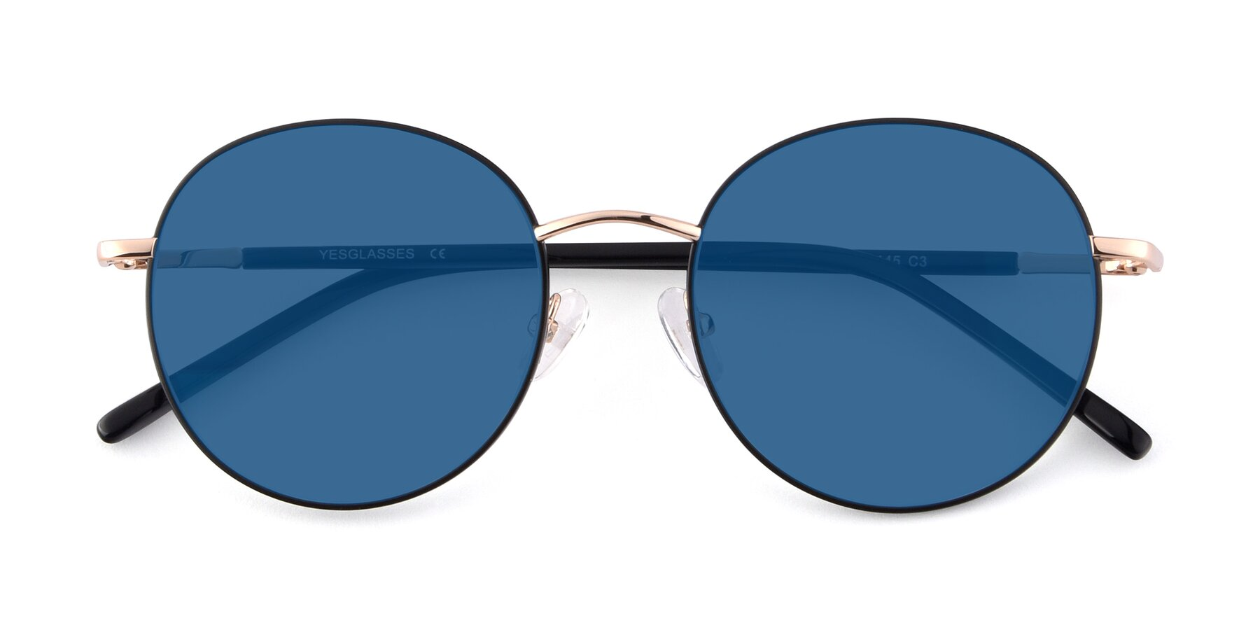 Folded Front of Cosmos in Black-Gold with Blue Tinted Lenses