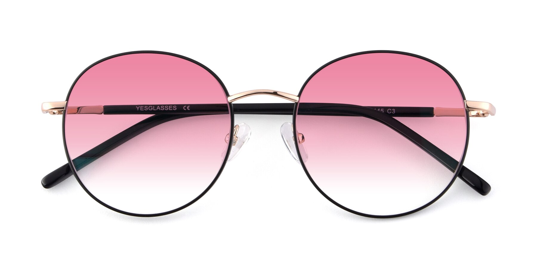 Folded Front of Cosmos in Black-Gold with Pink Gradient Lenses
