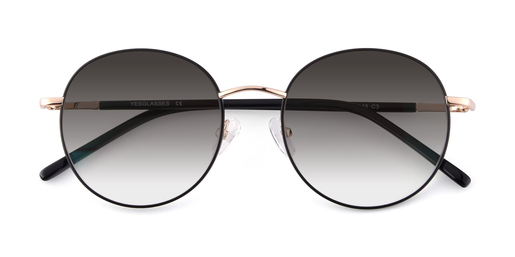 Folded Front of Cosmos in Black-Gold with Gray Gradient Lenses