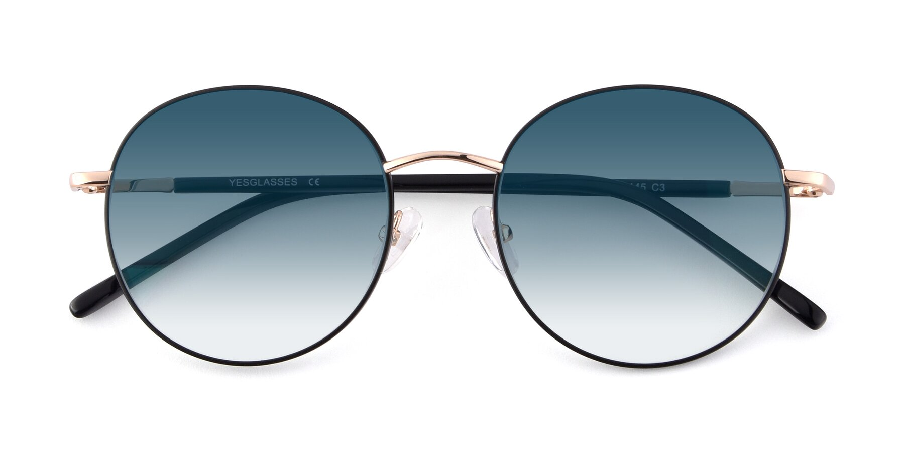 Folded Front of Cosmos in Black-Gold with Blue Gradient Lenses