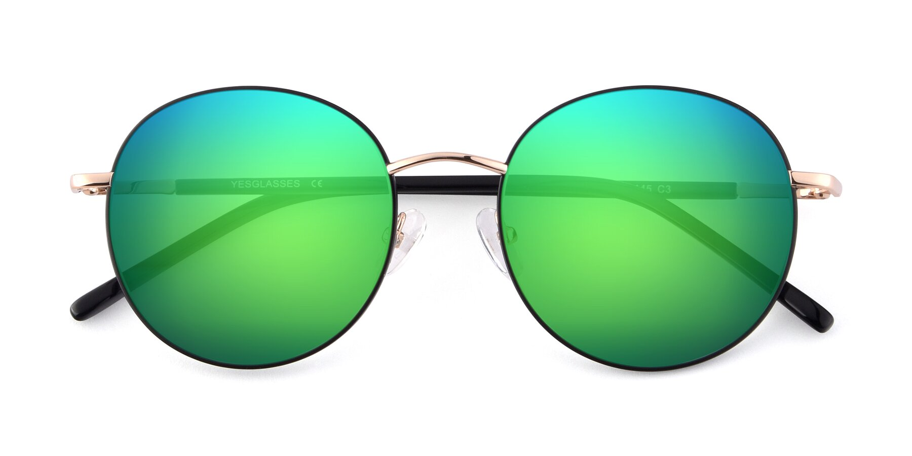 Folded Front of Cosmos in Black-Gold with Green Mirrored Lenses