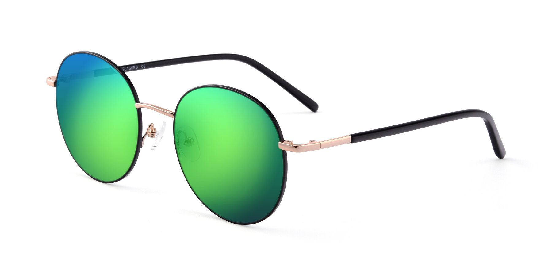 Angle of Cosmos in Black-Gold with Green Mirrored Lenses