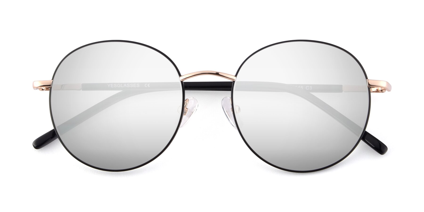 Folded Front of Cosmos in Black-Gold with Silver Mirrored Lenses