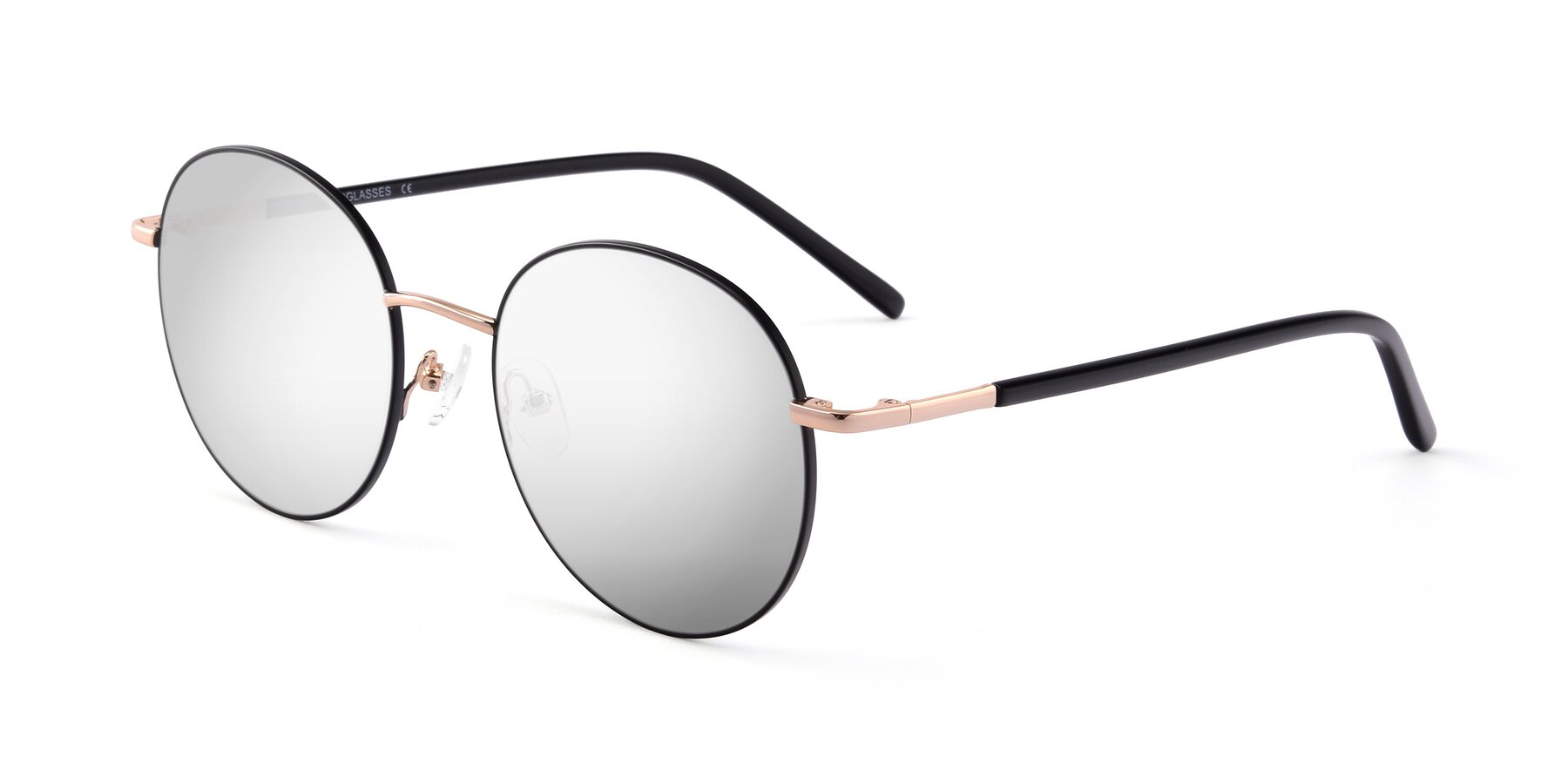 Angle of Cosmos in Black-Gold with Silver Mirrored Lenses