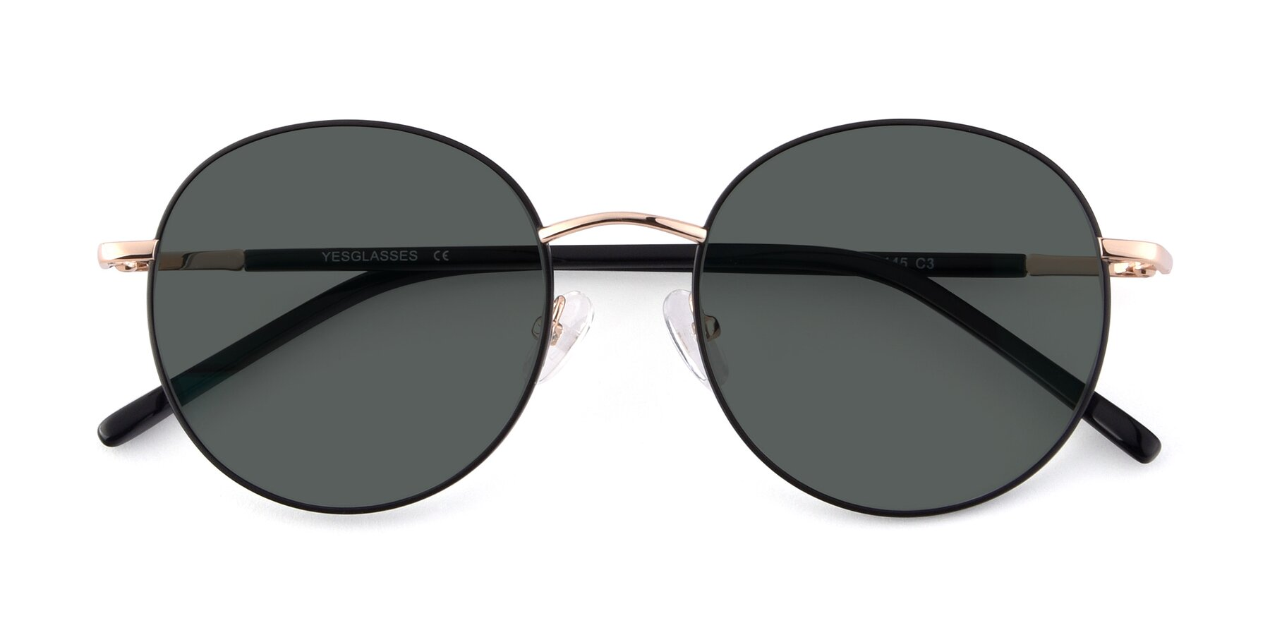 Folded Front of Cosmos in Black-Gold with Gray Polarized Lenses