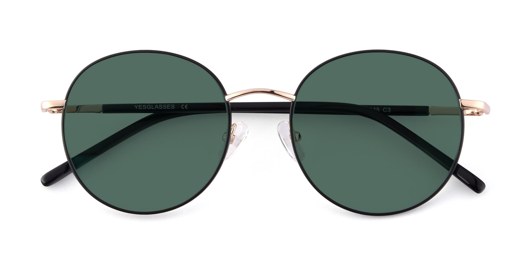 Folded Front of Cosmos in Black-Gold with Green Polarized Lenses