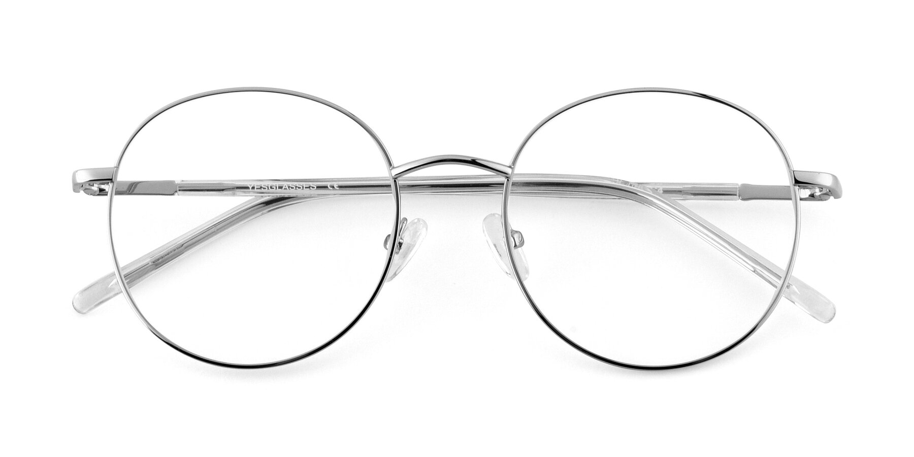 Folded Front of Cosmos in Silver with Clear Eyeglass Lenses