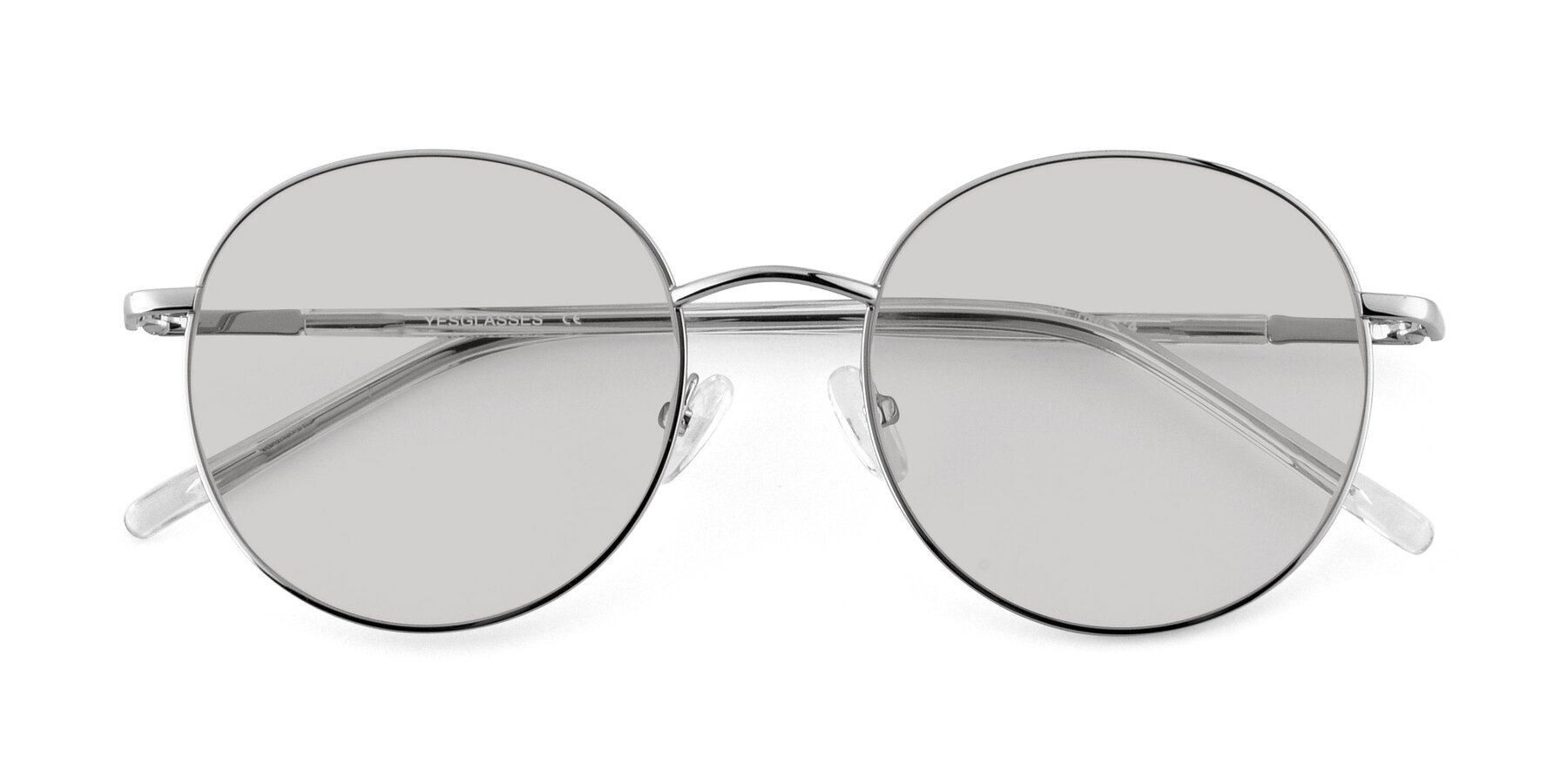 Folded Front of Cosmos in Silver with Light Gray Tinted Lenses