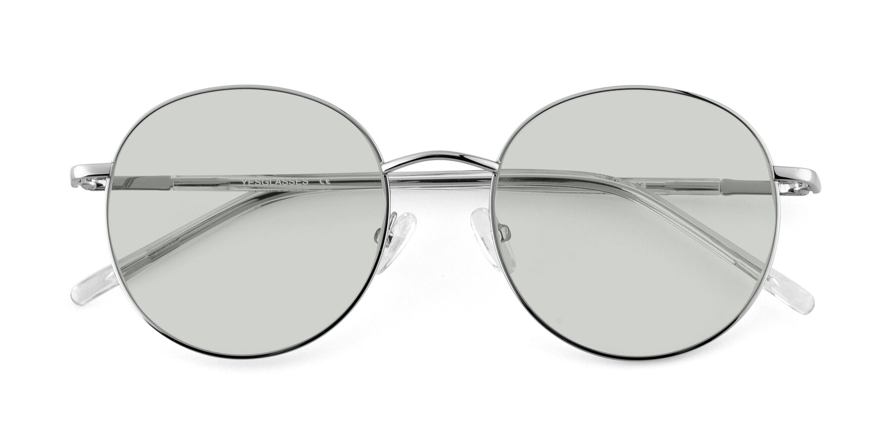 Folded Front of Cosmos in Silver with Light Green Tinted Lenses