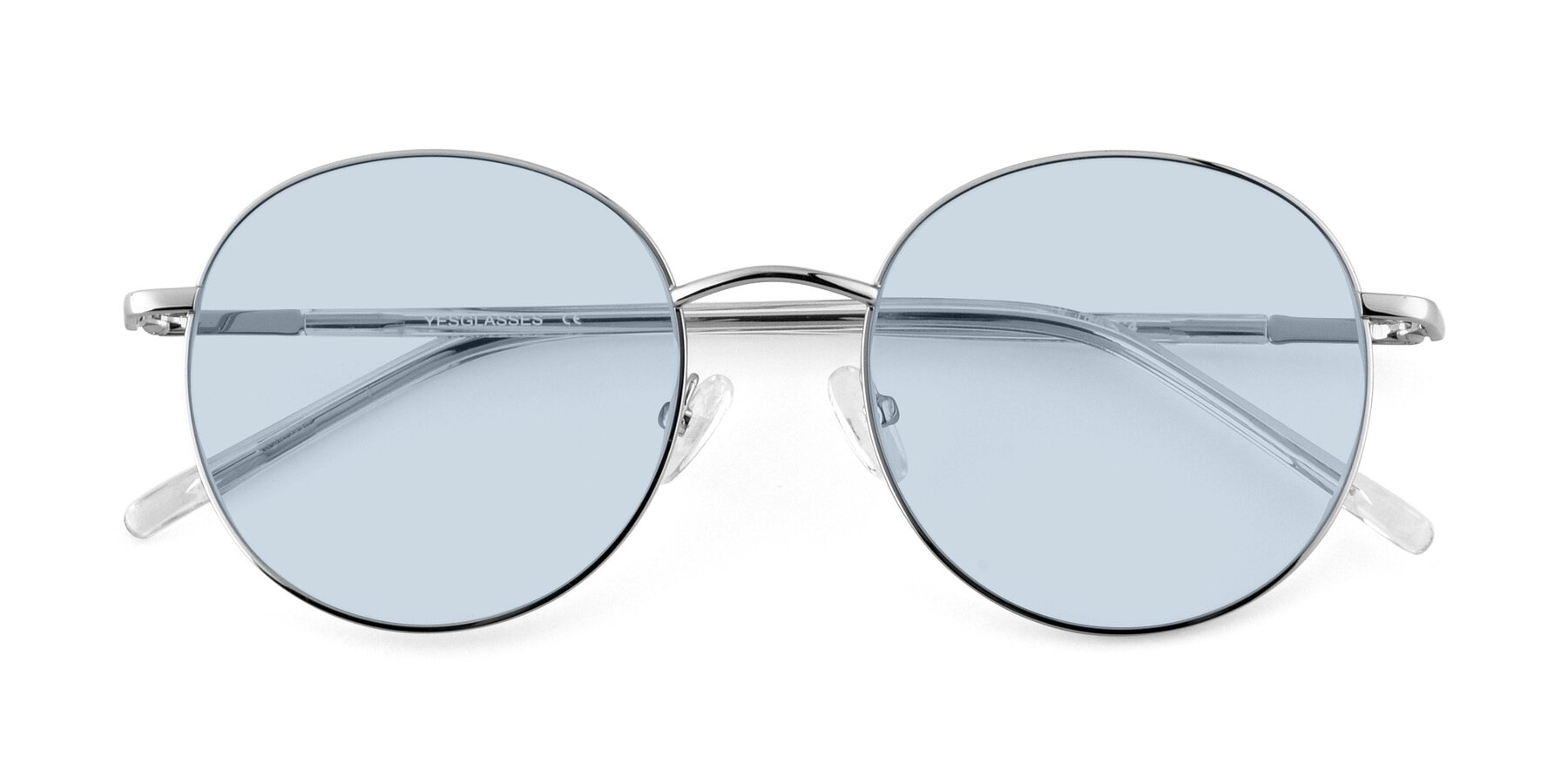 Folded Front of Cosmos in Silver with Light Blue Tinted Lenses