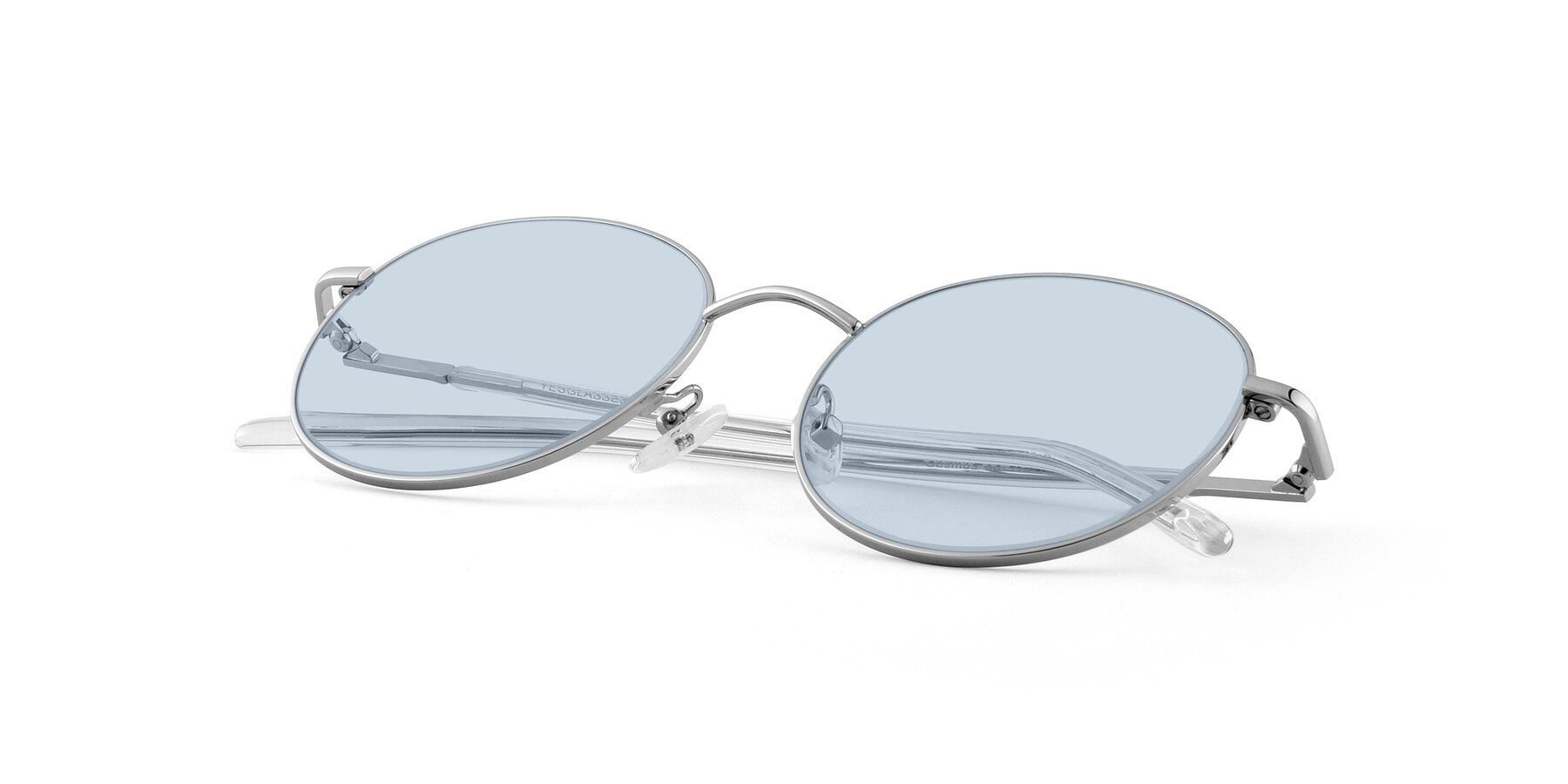 View of Cosmos in Silver with Light Blue Tinted Lenses