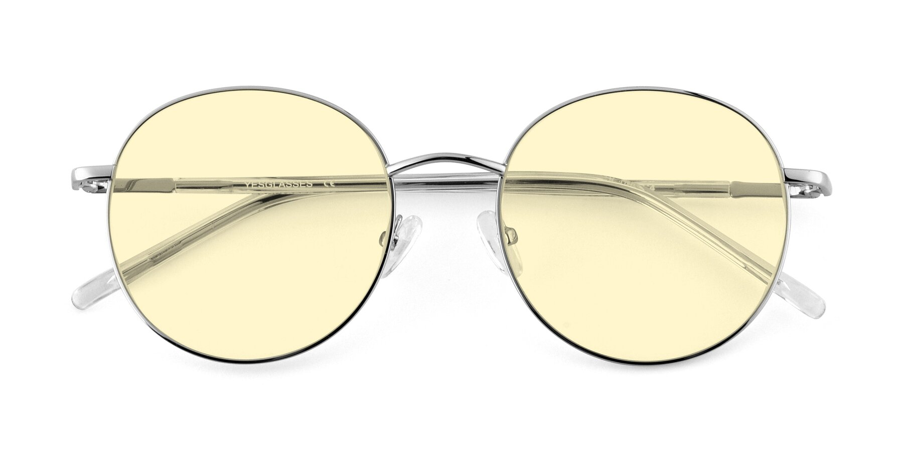 Folded Front of Cosmos in Silver with Light Yellow Tinted Lenses