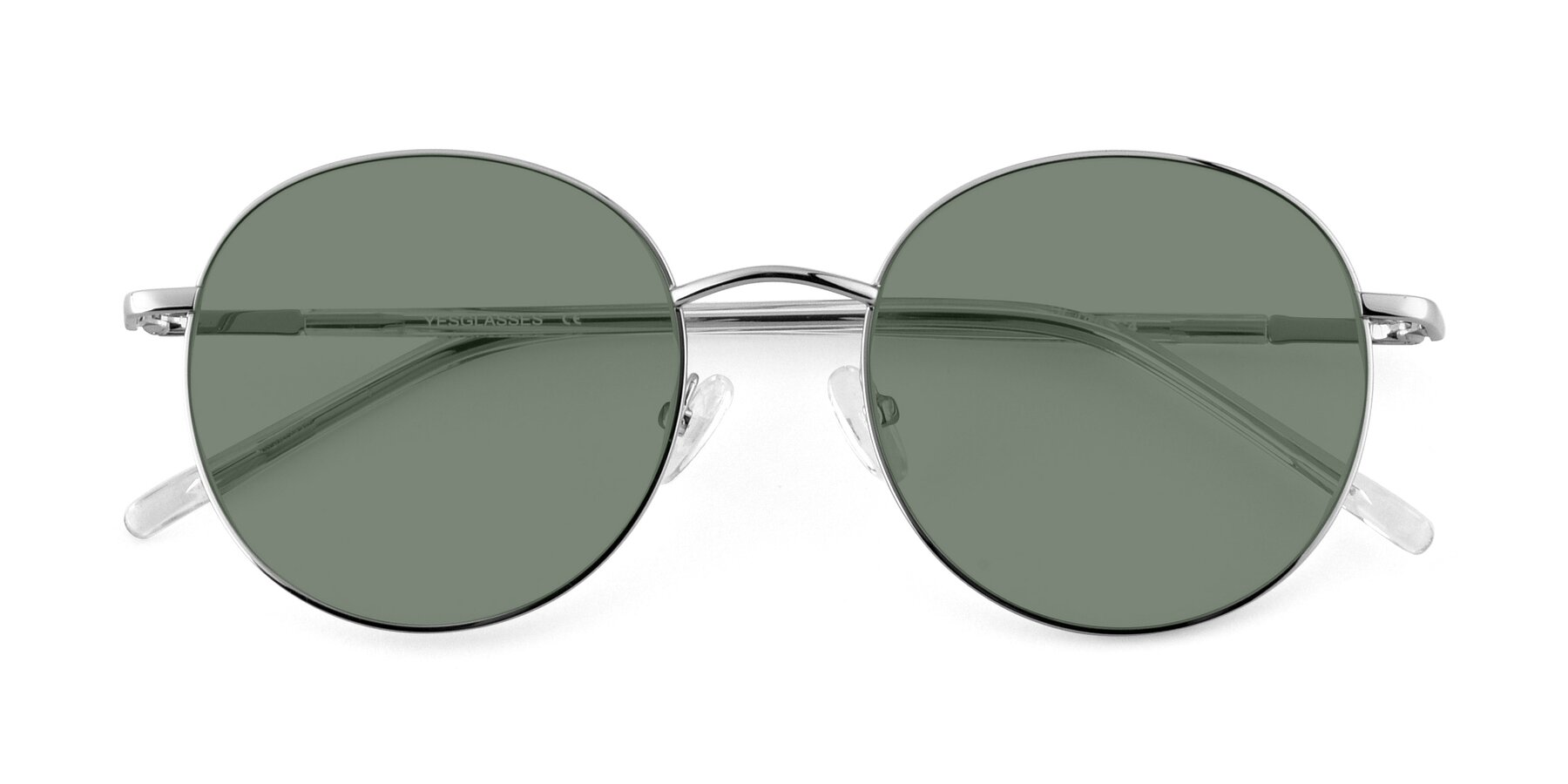 Folded Front of Cosmos in Silver with Medium Green Tinted Lenses