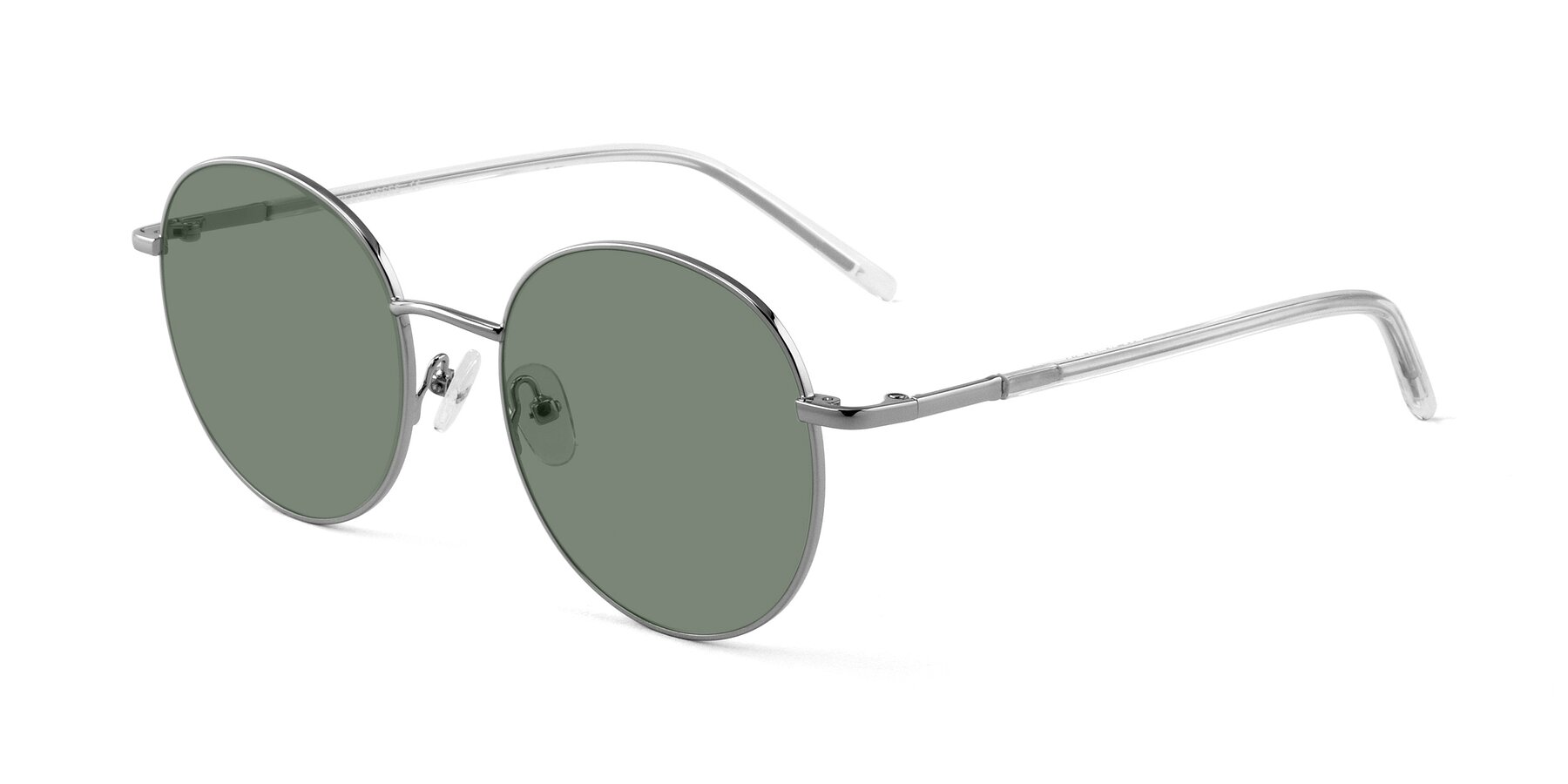 Angle of Cosmos in Silver with Medium Green Tinted Lenses